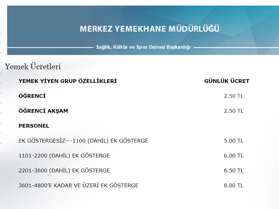 8 Mart 2019'da yayınlanan fiyat listesi