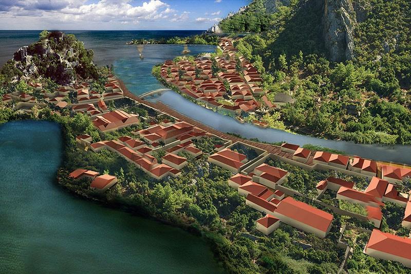 Olimpos'un antik çağdaki yerleşimini yansıtan bir canlandırma. (Olimpos kazıları arşivi)