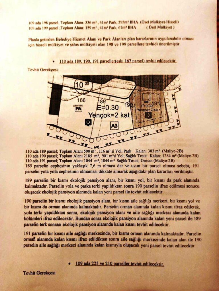 Yeni planın notlarında yapılaşma oranını ve koşullarını belirten bölüm.